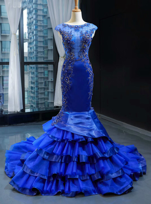 Royal Blue Mermaid Satin Tulle Backless Beading Prom Dress