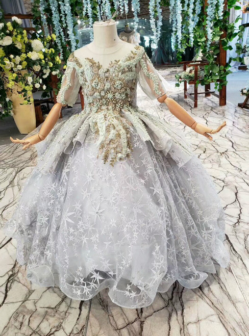 Gray Ball Gown Tulle Embroidery Short Sleeve Beading Flower Girl Dress