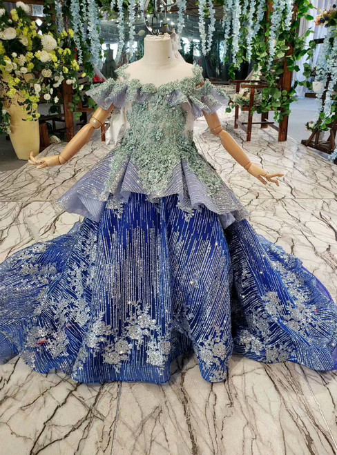 Royal Blue Ball Gown Sequins Green Beading Appliques Flower Girl Dress