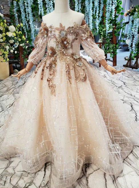 Champagne Tulle Sequins Off the Shoulder Long Sleeve Appliques Flower Girl Dress