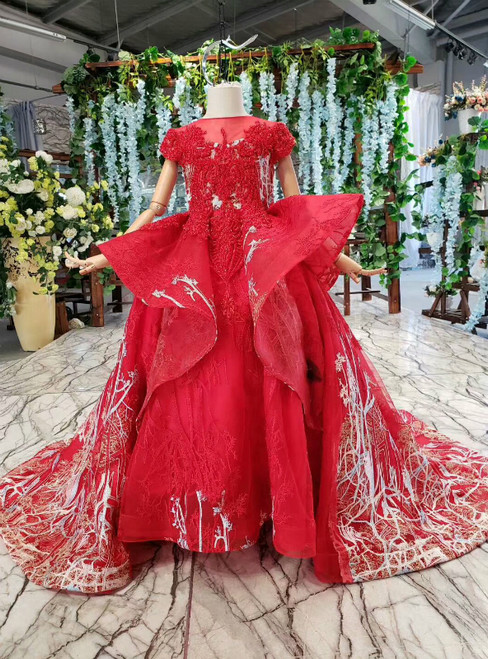 Red Ball Gown Sequins Appliques Cap Sleeve Beading Flower Girl Dress