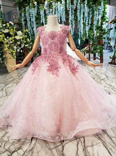 Pink Ball Gown Tulle Beading Embroidery Flower Girl Dress