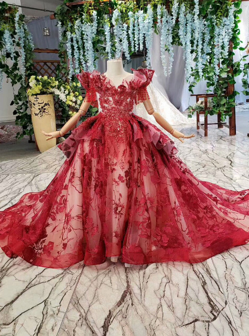 Dark Red Ball Gown Tulle Embroidery Beaidng Flower Girl Dress