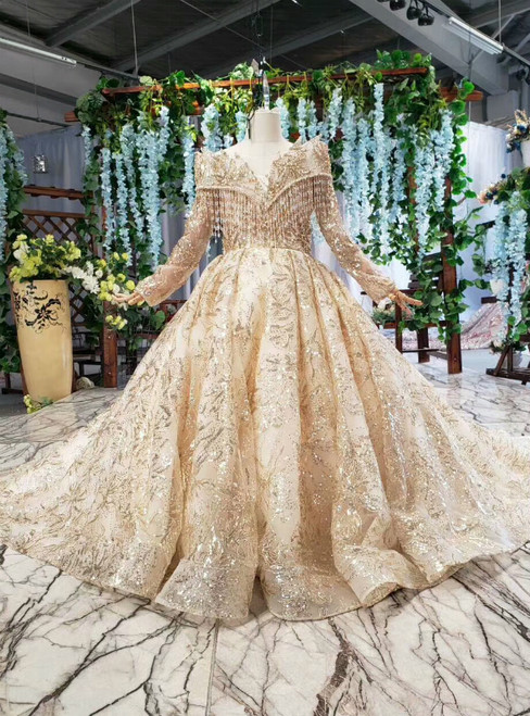 Champagne Gold Tulle Sequins Long Sleeve Flower Girl Dress With Beading