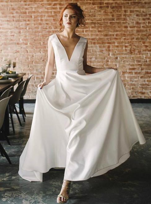 Simple V-neck Backless Beach Satin Wedding Dress Backless