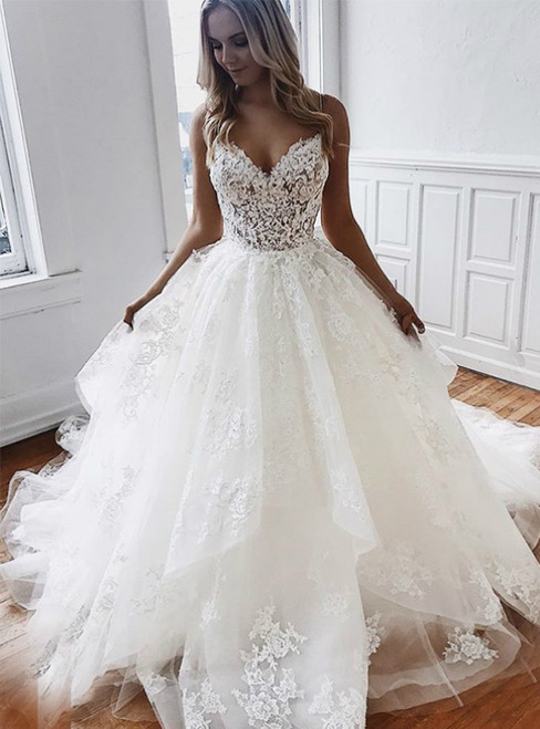 A-Line White Tulle Appliques Spaghetti Straps Backless Wedding Dress Bridal Gown