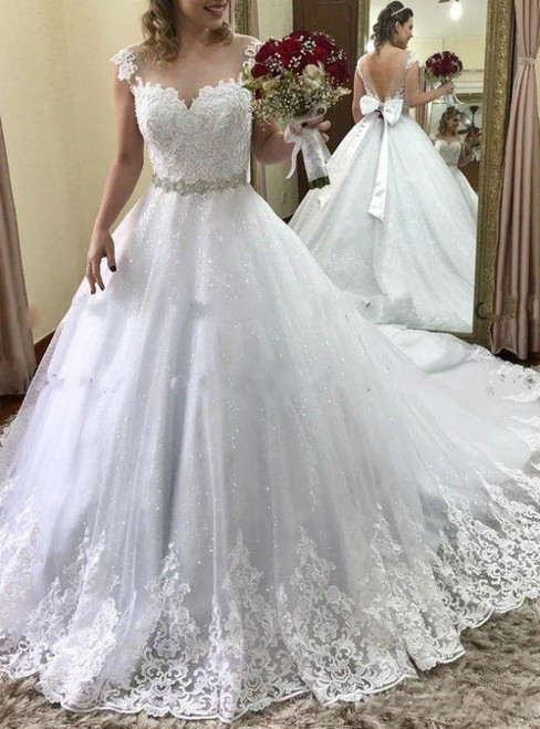 White Ball Gown Tulle Lace Appliques Backless Wedding Dress With Bow