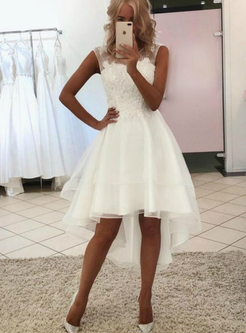 A-Line White Organza Hi Lo Apppliques Wedding Dress