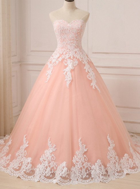Pink Ball Gown Tulle Lace Appliques Sweetheart Princess Quinceanera Dresses