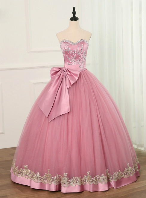 Pink Ball Gown Tulle Sweetheart Bow Appliques Quinceanera Dresses