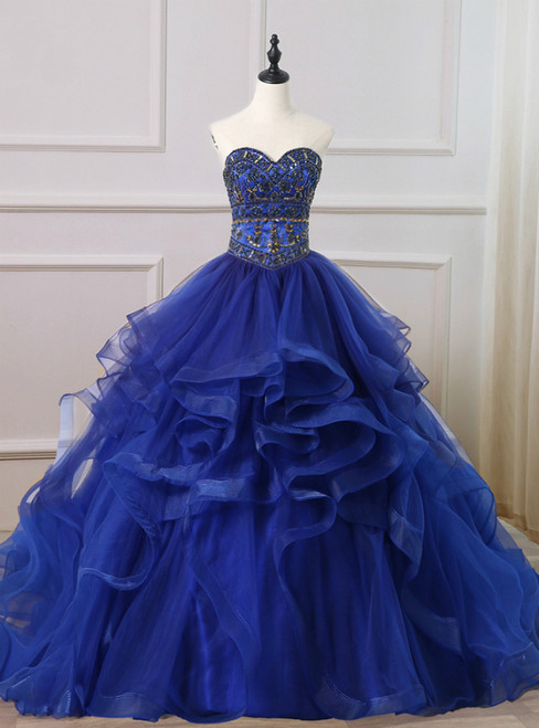 Royal Blue Ball Gown Tulle Sweetheart Crystal Beading Quinceanera Dress
