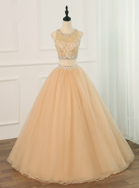 Champagne Two Piece O-neck Sparkling Beaded Crystals Tulle Sweet 16 Dresses