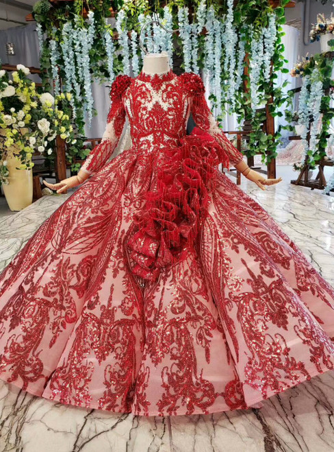 Red Ball Gown Sequins Long Sleeve High Neck Beading Flower Girl Dress