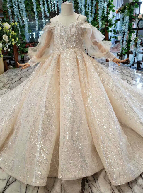 Champagne Ball Gown Sequins Spaghetti Straps Long Sleeve Flower Girl Dress