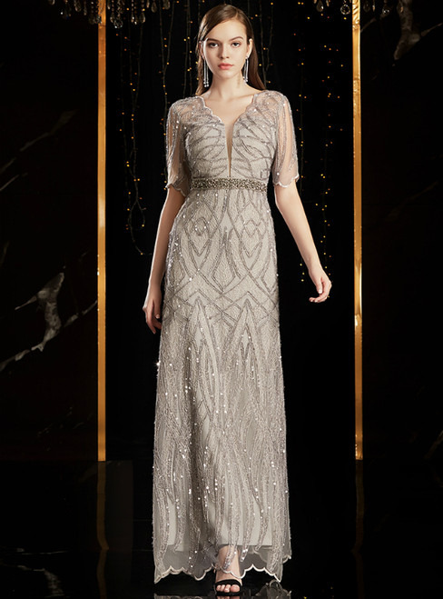 A-Line Gray Tulle Lace Sequins V-neck Short Slevee Mother Of the Brides Dress