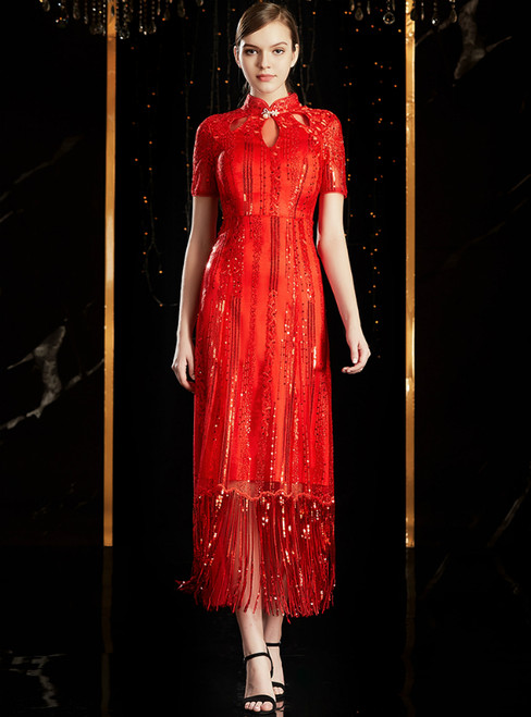 A-Line Red Tulle Sequins High Neck Short Sleeve Mother Of the Brides Dress