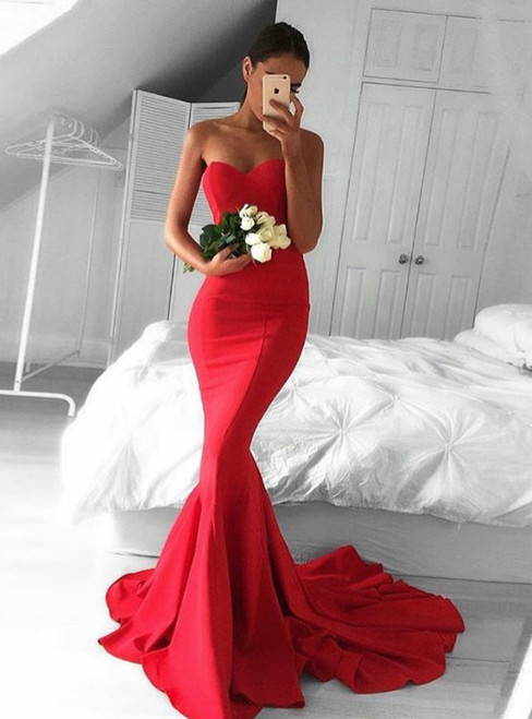 Evening Dress Red Sweetheart Satin Mermaid Prom Dress  Formal Gown