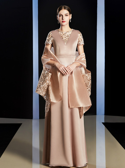 A-Line Apricot Color Short Sleeve Satin Embroidery Mother Of the Brides Dress With Shawl