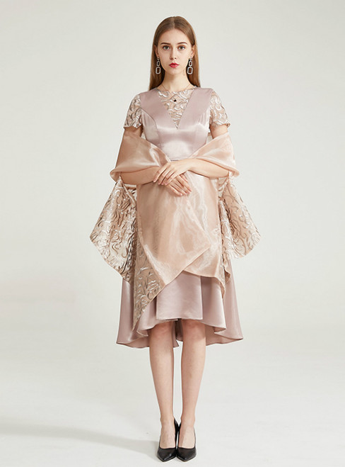 A-Line Short Satin Apricot Color Embroidery Mother Of the Brides Dress With Shawl
