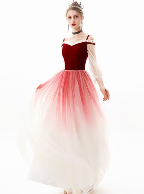 In Stock:Ship in 48 Hours Burgundy Tulle Long Sleeve Prom Dress