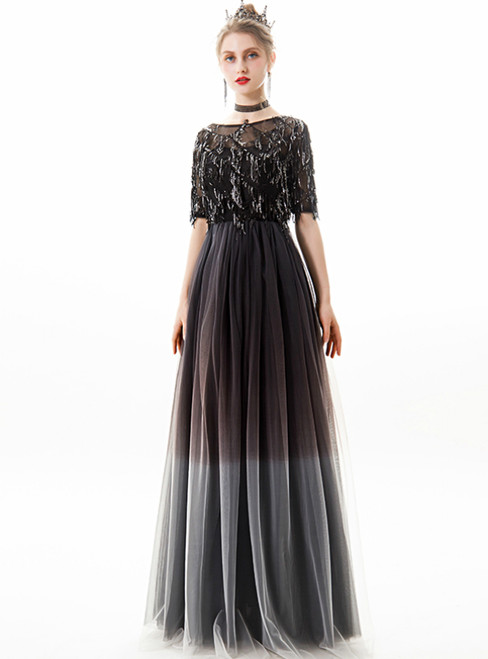 In Stock:Ship in 48 Hours Black Tulle Sequins Short Sleeve Prom Dress