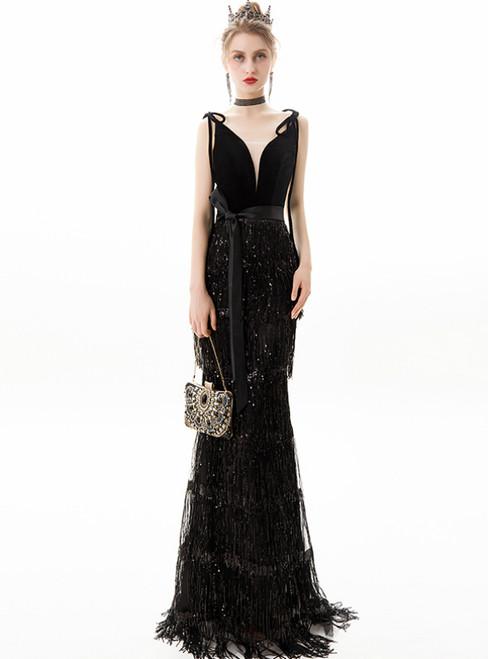 In Stock:Ship in 48 Hours Black Mermaid Sequins Tassels Prom Dress