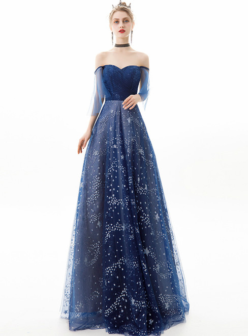 In Stock:Ship in 48 Hours Navy Blue Tulle Off the Shoulder Prom Dress