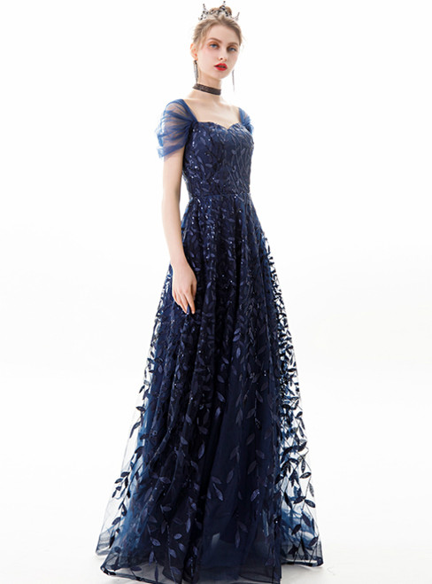 In Stock:Ship in 48 Hours Navy Blue Tulle Seuqins Sweetheart Prom Dress