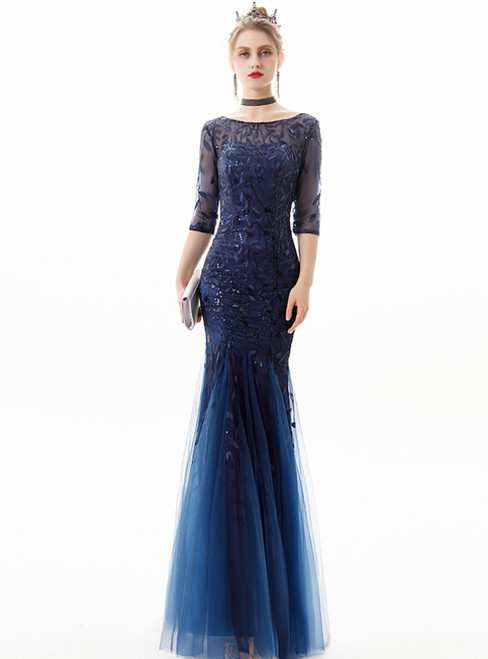 In Stock:Ship in 48 Hours Bateau Short Sleeve Sequins Prom Dress
