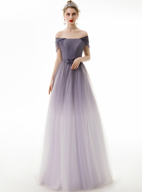 In Stock:Ship in 48 Hours Purple Tulle Off the Shoulder Prom Dress