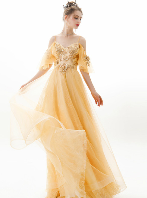 In Stock:Ship in 48 Hours Yellow Tulle Spaghetti Straps Appliques Prom Dress