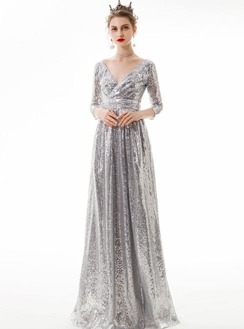 In Stock:Ship in 48 Hours Silver Seuqins V-neck 3/4 Sleeve Prom Dress