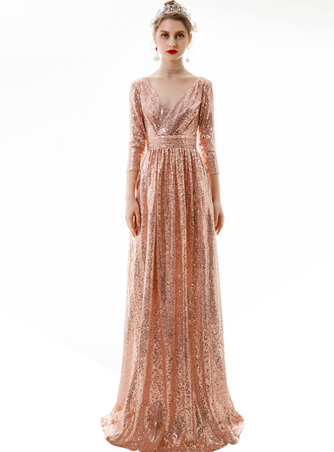 In Stock:Ship in 48 Hours Rose Gold Seuqins V-neck 3/4 Sleeve Prom Dress