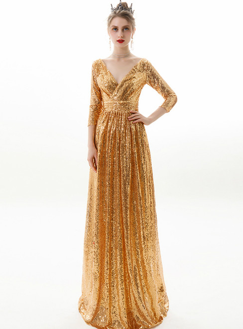 In Stock:Ship in 48 Hours Gold Seuqins V-neck 3/4 Sleeve Prom Dress
