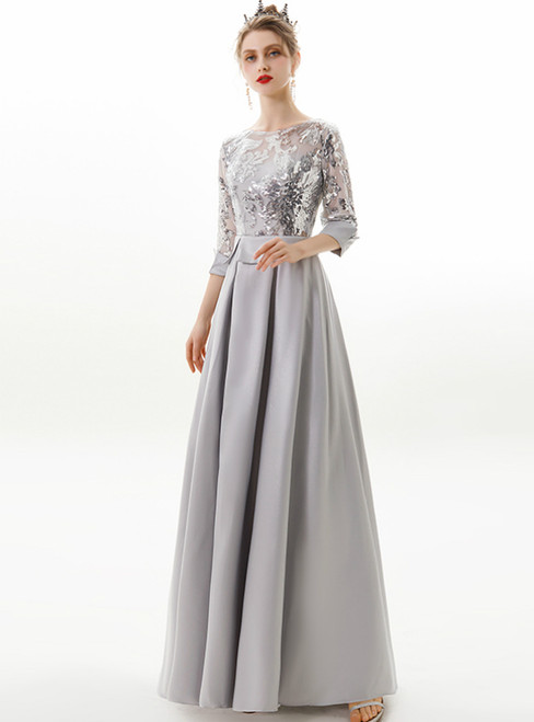 In Stock:Ship in 48 Hours Silver Gray Satin Sequins Half Sleeve Prom Dress