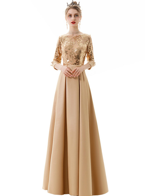 In Stock:Ship in 48 Hours Gold Satin Sequins Half Sleeve Prom Dress