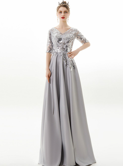 In Stock:Ship in 48 Hours Silver Gray V-neck Backless Prom Dress
