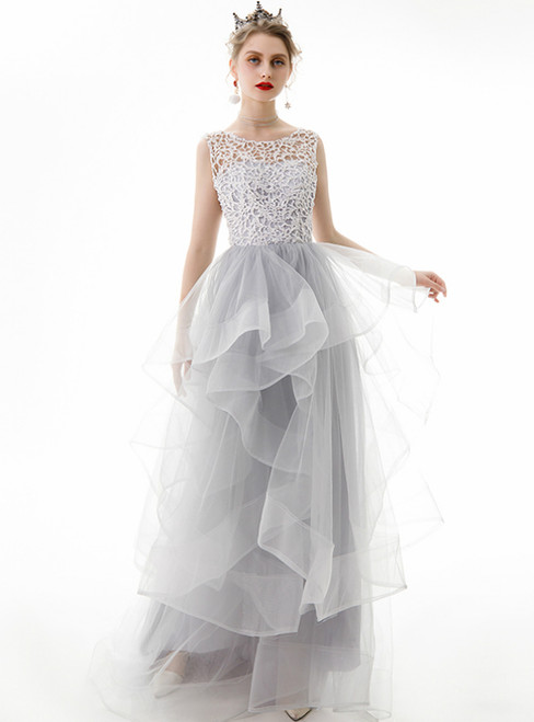 In Stock:Ship in 48 Hours Gray Tulle Lace Long Prom Dress
