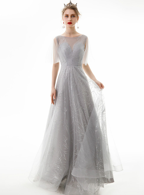 In Stock:Ship in 48 Hours A-Line Silver Gray Tulle Sequins Prom Dress