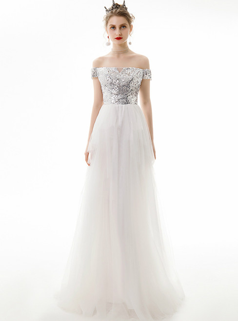 In Stock:Ship in 48 Hours White Tulle Off the Shoulder Prom Dress