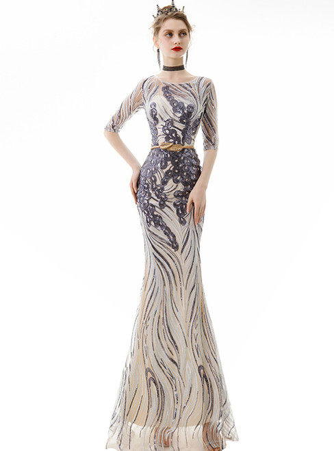 In Stock:Ship in 48 Hours Gray Tulle Sequins Mermaid Prom Dress