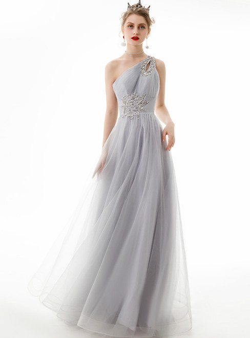 In Stock:Ship in 48 Hours Silver Gray Tulle One Shoulder Beading Prom Dress