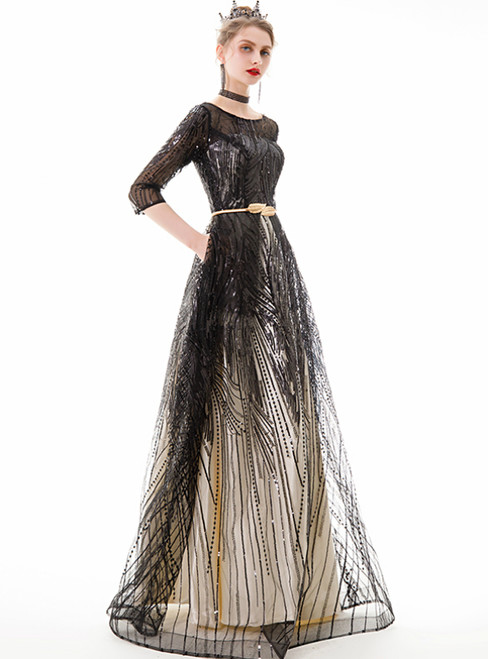 In Stock:Ship in 48 Hours Black Tulle Sequins 3/4 Sleeve Prom Dress
