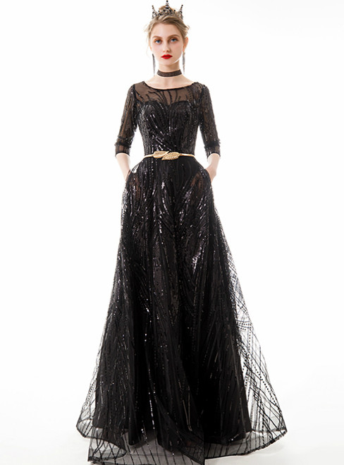 In Stock:Ship in 48 Hours Black Tulle Sequins 3/4 Sleeve Prom Dress With Sash