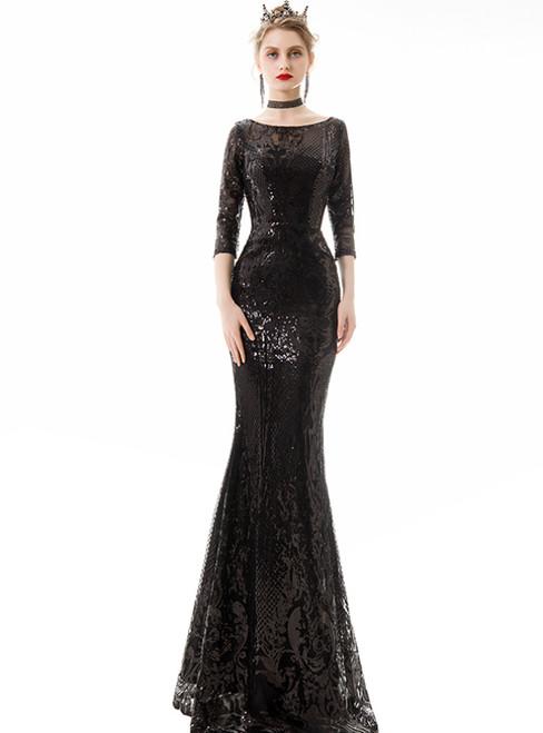 In Stock:Ship in 48 Hours Black Mermaid Sequins 3/4 Sleeve Prom Dress