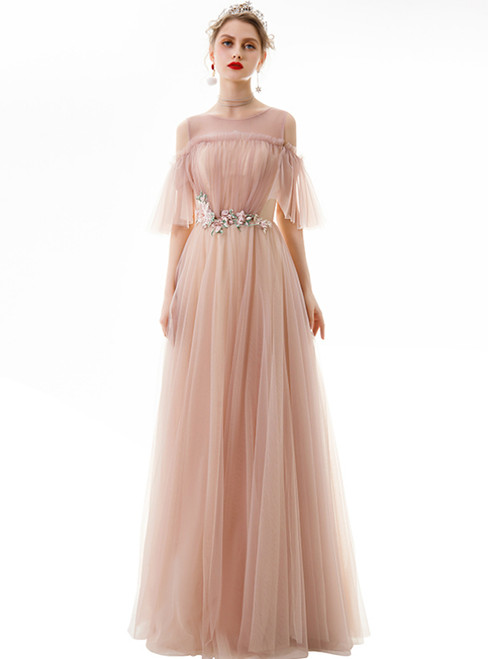 In Stock:Ship in 48 Hours Pink Tulle Appliques Pleats Prom Dres