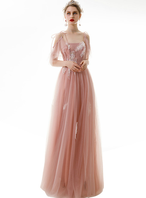 In Stock:Ship in 48 Hours Pink Tulle Spaghetti Straps Appliques Long Prom Dress