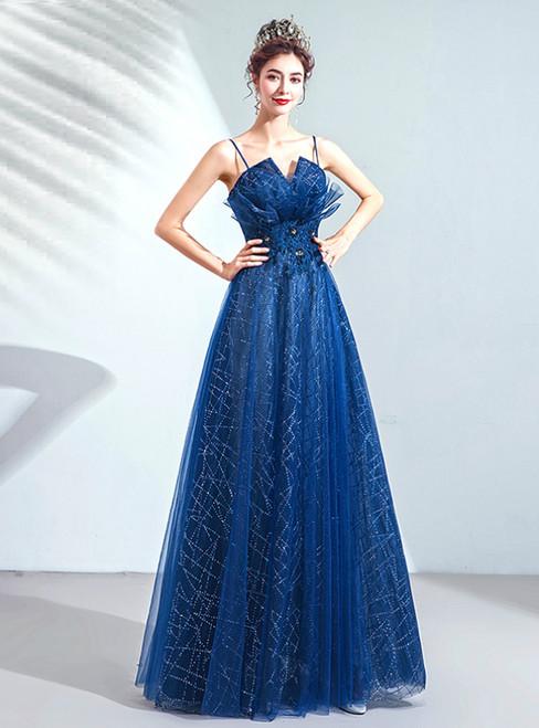 In Stock:Ship in 48 Hours Blue Tulle Sequins Spaghetti Straps Prom Dress
