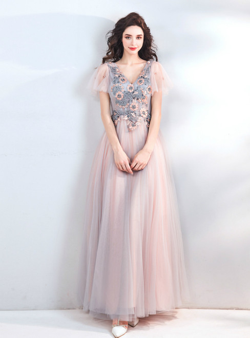 In Stock:Ship in 48 Hours V-neck Tulle Appliques Prom Dress
