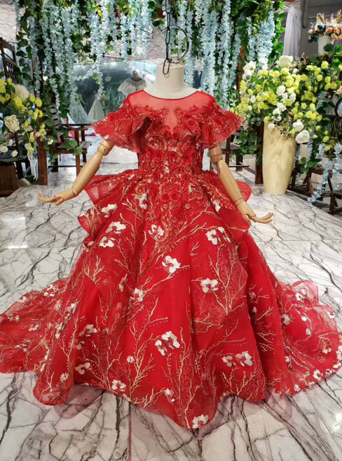 Red Ball Gown Tulle Appliques Cap Sleeve Flower Girl Dress